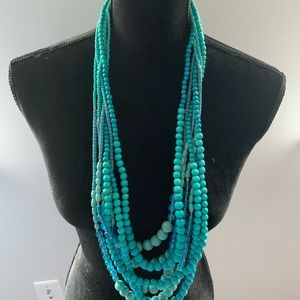 Multi strand wood and glass turquoise necklace